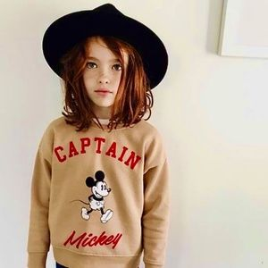 Zara girls tan color Mickey printed sweatshirt